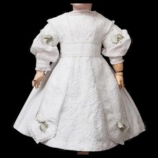 Wonderful Antique Original White Cotton Pique Dress with Soutage trim  for Jumeau Bru Steiner Eden bebe doll about 25-26 in