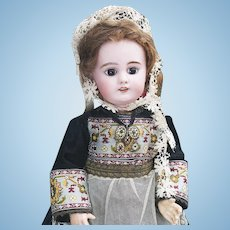 """16"""" (41cm) Antique French Child DEP doll in original Normandy costume, size 6, for the french market"""