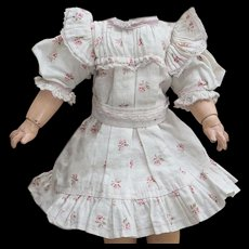 "Antique Original Bebe Jumeau Blue flowered factory dress for doll about 13-14"",  c.1890, rare small size!"