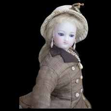 "15"" (37cm) Antique French Fashion Parisienne poupee doll by Casimir Bru with head by Eugene Barrois, in original costume!"