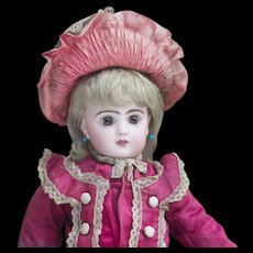 "14 1/2"" (37cm) Antique French Jumeau bebe doll with closed mouth, size 5, in original costume, excellent condition!"