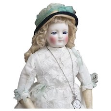 "22"" (56 cm) Rare Antique Early  Large French Porcelain Doll with enamel eyes, by Blampoix, in original dress, excellent condition!"