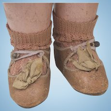 Antique French  Leather shoes by Beaudelot/Alart  with figure of the doll and original rose socks fir Jumeau Bru Steiner Gaultier  and other french bebe