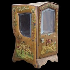 "7"" (17cm) Rare Antique  French Small Sedan Chair with Painted Cherubic Scenes for doll,  a rare size of the desirable accessory!"