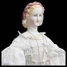 "22"" (56 cm) Rare  Antique All Original German Bisque Portrait Doll of Empress Eugenie, c.1870"