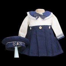 "Antique French Original Woolen Sailor dress  and cap for Jumeau Bru Steiner Eden bebe or early german doll 20-21"""