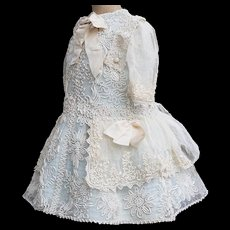 """Very Beautiful Antique Original Tulle Lace Dress  with silk cord embroidery for Jumeau Bru Steiner  Gaultier Eden Bebe or German doll about 26-28"""" tall"""