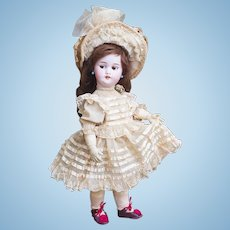 """17"""" (43cm) Rare Antique French Mechanical L'Intrepide Walking Bebe Doll with Flirty Eyes, wind up key, By Roullet & Decamps"""