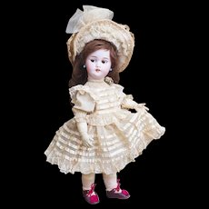 "17"" (43cm) Rare Antique French Mechanical L'Intrepide Walking Bebe Doll with Flirty Eyes, wind up key, By Roullet & Decamps"