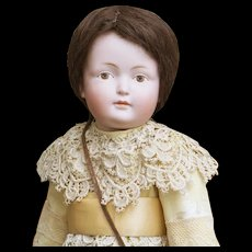 "14"" (35cm) Rare Antique German Bisque Painted Eye Character Doll 182, closed mouth, by Kestner"