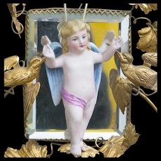 "4 1/2"" (12cm) Antique German Bisque Baby Doll Cherub Angel Oil Lamp Swinger Pull, c.1885"