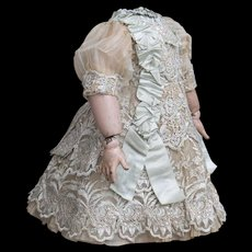 "Very beautiful Antique French Silk & Gauze Dress for Jumeau Bru Steiner Doll about 19-20"" tall"