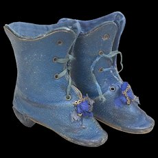 Antique French original Blue leather  Shoes Boots for Fashion doll Huret Bru Rohmer Gaultier Jumeau or other