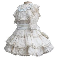 "Antique French Original Silk Dress for Jumeau Bru Steiner Gaultier Eden bebe doll  about 23-24"" tall"