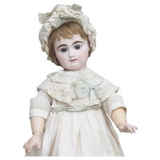 "28"" (71cm) Large Antique French Bisque Block Letter Closed Mouth Bebe Doll by Rabery and Delphieu with brown eyes"