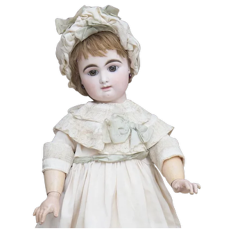 """28"""" (71cm) Large Antique French Bisque Block Letter Closed Mouth Bebe Doll by Rabery and Delphieu with brown eyes"""