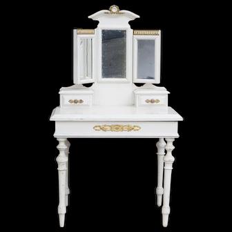 """17"""" (43cm) Antique French Original Dressing Toilette Table for fashion doll or bebe from Au Paradis des Enfants shop, Paris"""