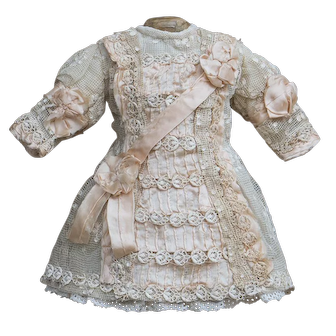 """Antique French Original Lace & silk dress for Jumeau Bru Steiner Eden Bebe and other french doll about 14-15"""" tall"""