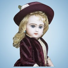Wonderful Antique  French Bisque Blue-Eyed Bebe by Emile Jumeau, Size 6, in original costume!