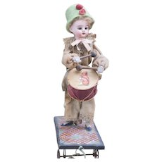 "11 1/2"" (29cm) Antique German Mechanical Pull Toy ""The Little Drummer Boy Doll"" by Zinner & Sohne, c.1890"