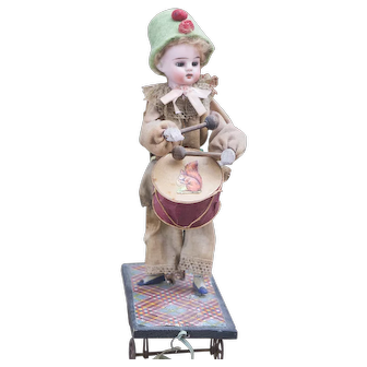 """11 1/2"""" (29cm) Antique German Mechanical Pull Toy """"The Little Drummer Boy Doll"""" by Zinner & Sohne, c.1890"""