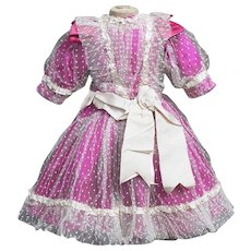 "Antique silk and dotted tulle lace dress for Jumeau Bru Steiner Eden bebe doll about 22-23"" tall"