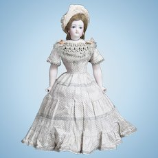 """19 1/2"""" (50cm) Antique French  FG fashion Poupee doll with rare bisque hands and legs, original dress!"""