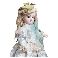 """13"""" (33cm) Antique French Tiny Bisque Bebe Doll by Gaultier Freres, size 3,  marks F.G. in scroll, c. 1888"""