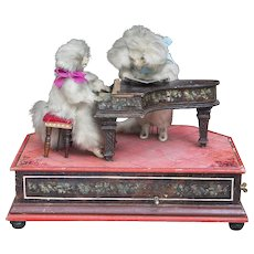Antique All Original Handwind Musical Automaton with two poodles - musicians - France, c,1870