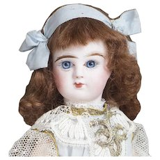 """11"""" (27 cm.) Antique French Bisque bebe Doll In Store-original costume by Denamur, in old Box, C.1900"""