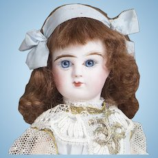 "11"" (27 cm.) Antique French Bisque bebe Doll In Store-original costume by Denamur, in old Box, C.1900"