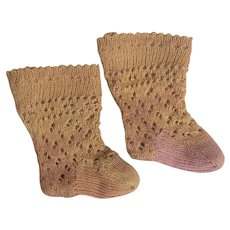 "Antique French Original Factory Tiny Socks for Jumeau Bru Steiner Eden bebe doll 11-13"" tall"