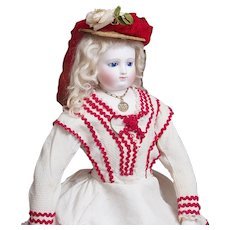 """17 1/2"""" (45cm) Extremely rare Antique French Fashion doll with kid over wood body, bisque hands and  bare bisque feet with rare marks JL, in original dress, c.1860"""