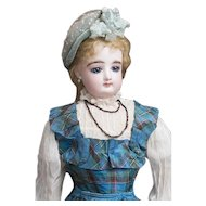 "19"" (48cm) Beautiful Antique French Fashion Bisque Poupee Doll with Original Boutique Label, Au paradis des Enfants PERREAU FILS, c.1880"