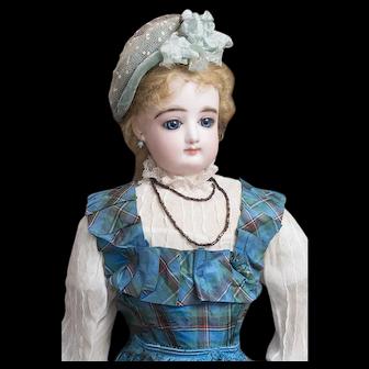 """19"""" (48cm) Beautiful Antique French Fashion Bisque Poupee Doll with Original Boutique Label, Au paradis des Enfants PERREAU FILS, c.1880"""