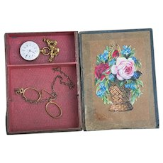 Very beautiful Antique Original set with  watch and eyeglasses for french fashion doll in original box