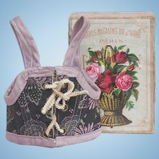 "Antique French Original Fashion or small bebe doll Silk Corset Stays with F.P. shop Mark, in ""Grand Magasins du Louvre"" box, later 19th C"