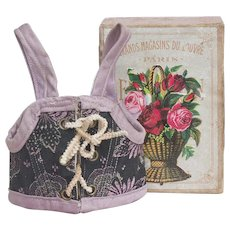 """Antique French Original Fashion or small bebe doll Silk Corset Stays with F.P. shop Mark, in """"Grand Magasins du Louvre"""" box, later 19th C"""