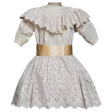"Antique Original cream Woolen Dress for Large Doll Jumeau bru Steiner Eden Bebe about 28-29"" tall (71-74cm)"