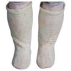 Antique  French Original Factory  Socks for Jumeau Bru Steiner Eden bebe E.J.Gaultier doll