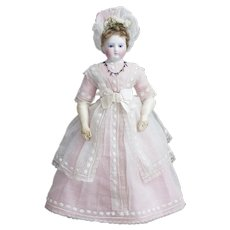 """15"""" (38 cm) Beautiful Antique Early French Fashion Bisque Poupee Doll with cobalt eyes, antique dress, c,1865"""