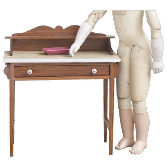 Antique French Original Wooden Dressing Toilette Table for fashion Doll Huret Rohmer Jumeau Barrois Gaultier Bru and other
