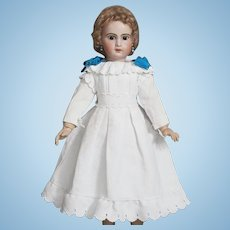 "Antique French Original White Pique Dress  for Jumeau Bru Steiner Eden bebe Gaultier and other doll about 25-26"" tall (65-68 cm)"