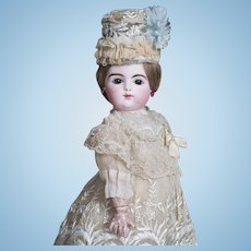 """14"""" (36cm)Antique French Pretty Bisque Bebe doll by Gaultier Freres with elaborate antique costume and hat"""