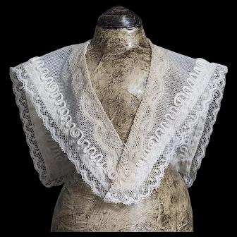 Wonderful Antique French Original Exemplary Net Lace & Soutache Shawl for Huret, Rohmer, Blampoix Enfantine Poupee fashion doll