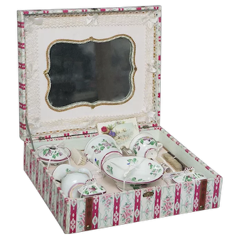 Wonderful Antique French Toilette Presentation Toilette Set with rare porcelain service for fashion or cabinet size doll, c.1880