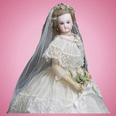 "13"" (33 cm.) Very Beautiful Antique French Fashion Marked Jumeau Bride doll poupee with wedding gown, in Paris Au Bon Marche Presentation Box, c.1880"