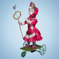 "13""(33 cm.)  Wonderful Antique French All original Mechanical Toy by Gustav Vichy ""Little Girl catching Butterfly""with Gaultier head doll, c.1875"