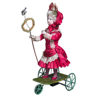 """13""""(33 cm.)  Wonderful Antique French All original Mechanical Toy by Gustav Vichy """"Little Girl catching Butterfly""""with Gaultier head doll, c.1875"""