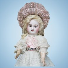 "22"" (56cm) Wonderful Antique French Early Bisque Bebe Doll by Rabery & Delphieu, closed mouth, original dress, marked with block letter, c.1880"